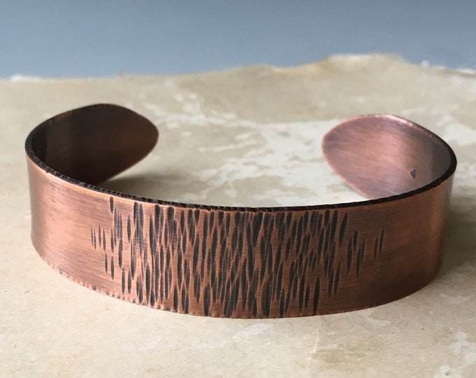 Forged Copper Cuff Bracelet, Artisan Jewelry