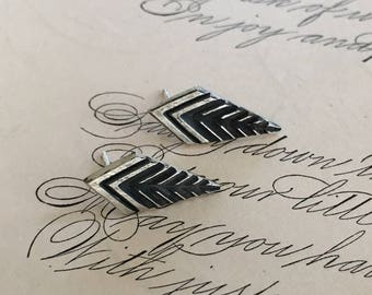 Leaf Earrings, Arts and Crafts Style, Art Deco