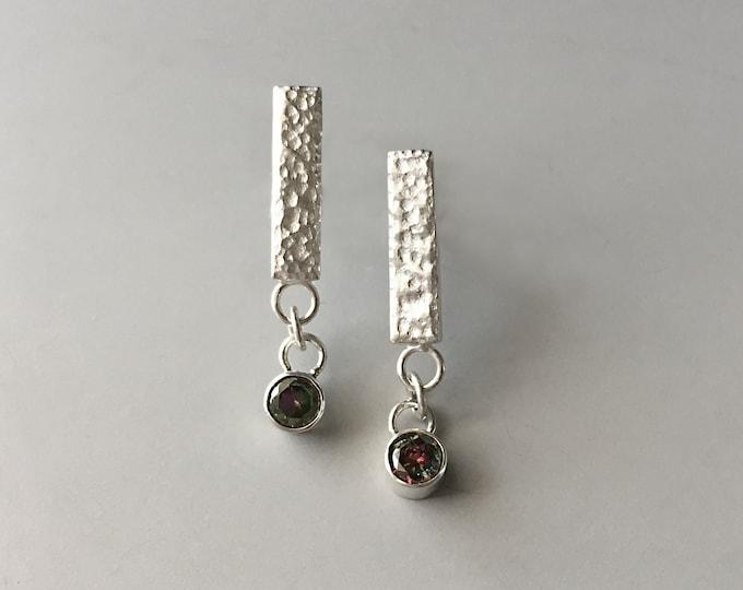 Alexandrite Earrings, Stone Earrings Studs, Sterling Silver Cubic Zirconia