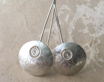 Silver Spiral Earrings, Circle Jewelry, Domed
