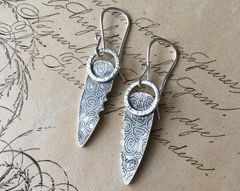 Shield Earrings, Textured Silver, Carved Jewelry, Artisan Earrings Handmade