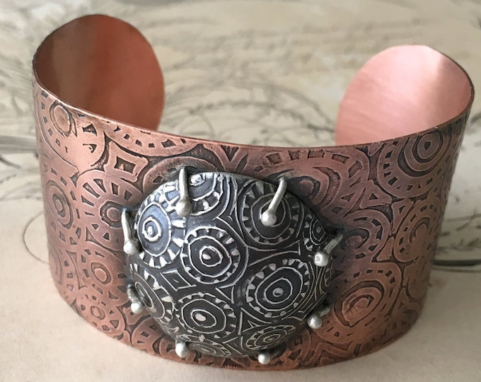 Mixed Metal Cuff, Copper and Silver Bracelet, Metalsmith Jewelry