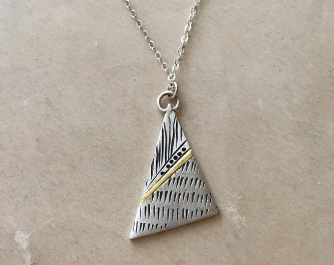 Triangle Pendant, Silver and Gold Layering, Geometric Jewelry, Casual Necklace