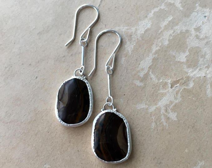 Coffee Colored Earrings, Royal Sahara Jasper, Long Silver