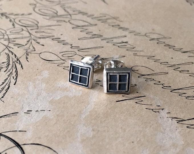Tiny Stud Earrings, Square, Little Geometric