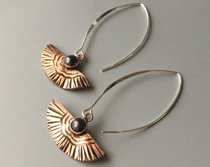 Copper and Stone Earrings, Hematite Dangle, Fan Earrings