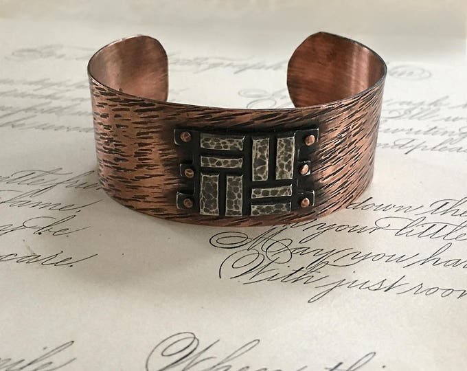 Copper and Silver Jewelry, Hammered Cuff Bracelet, Copper Rivets, Mixed Metal