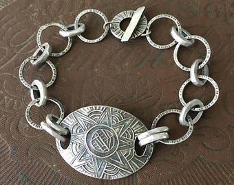Handmade Silver Chain Bracelet, Star, Hammered Silver, Metalsmith