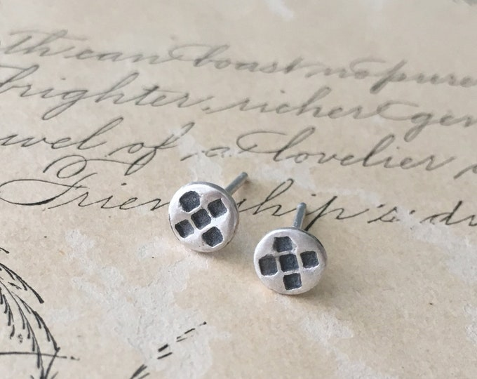 Geometric Studs Earrings, Little, Small Silver, Post