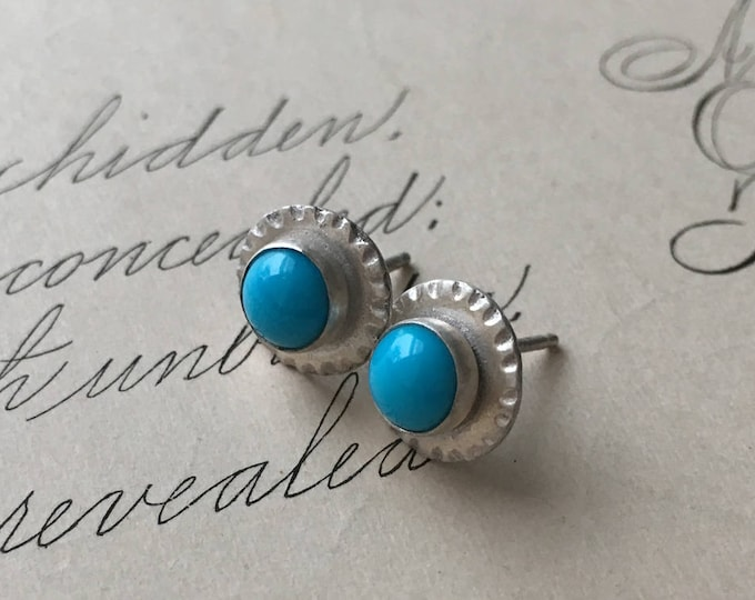 Turquoise Stud Earrings, Silver and Turquoise, Small, Birthstone Jewelry