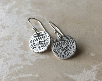 Small Silver Dangle Earrings, Tiny Dainty, Carved Silver