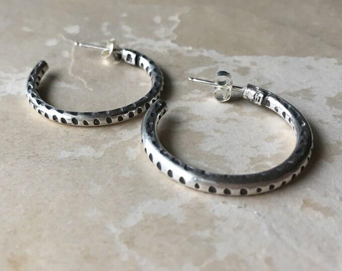 Silver Hoop Earrings Medium, Carved, Post, Silversmith Jewelry