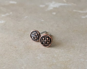 Stud Earrings for Women, Tiny Stud Earrings, Copper Stud Earrings, Stud Earrings for Men