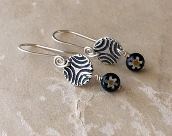 Tiny Silver Earrings, Millefiori Glass, Little Dangle