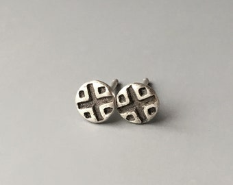 Mid Century Modern Earrings, Architectural, Small Simple