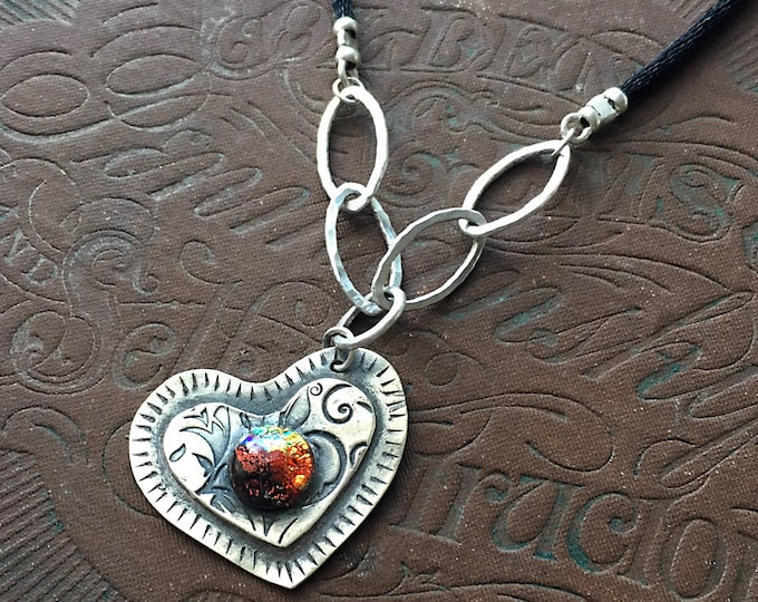 Sideways Heart Necklace, Heart Shaped Pendant, Symbol of Love, Anniversary, Dichroic Glass Jewelry