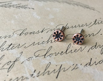 Stocking Stuffer Teen Girl, Teeny Tiny Stud Earrings, Copper, Unisex