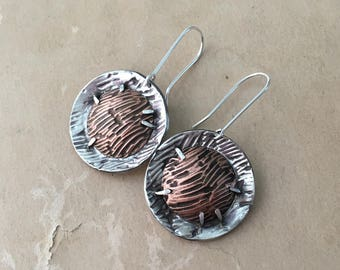 Wabi Sabi Jewelry, Mixed Metal Earrings, Silver and Copper, Dramatic