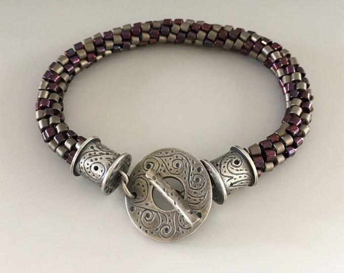 Kumihimo Jewelry, Beaded Bracelet, Braided Bracelet, Starry Night