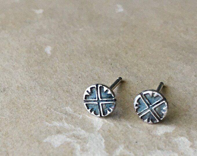 Small Silver Stud Earrings, TIny Post Earrings, Handcrafted Studs