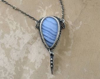 Blue Lace Agate Necklace, Metalsmith Jewelry, Art Deco, One of a Kind Gift