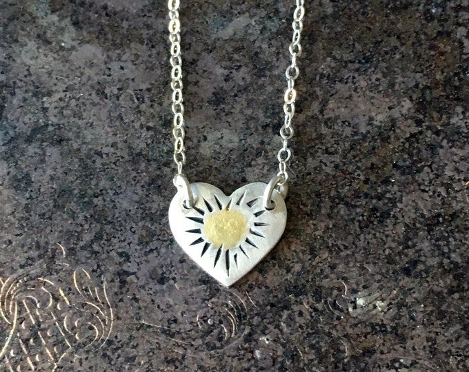 TIny Heart Necklace, Heart Choker, Heart Adjustable Necklace,  Layering Necklace Silver