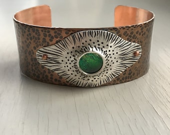 Hammered Copper Cuff, Copper and Silver Bracelet, Dichroic Glass Bracelet