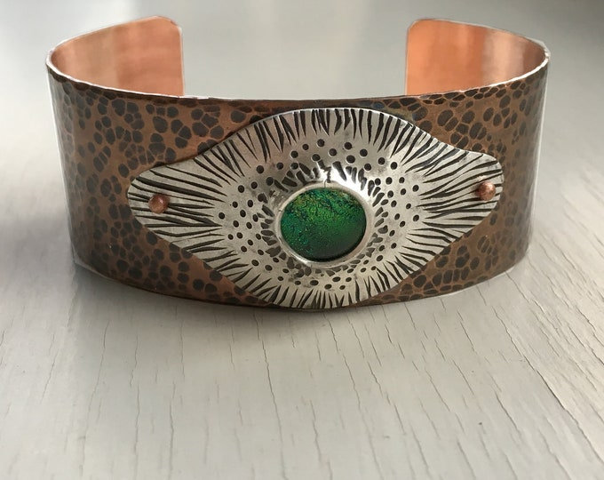 Hammered Copper Cuff, Copper and Silver Bracelet, Dichroic Glass