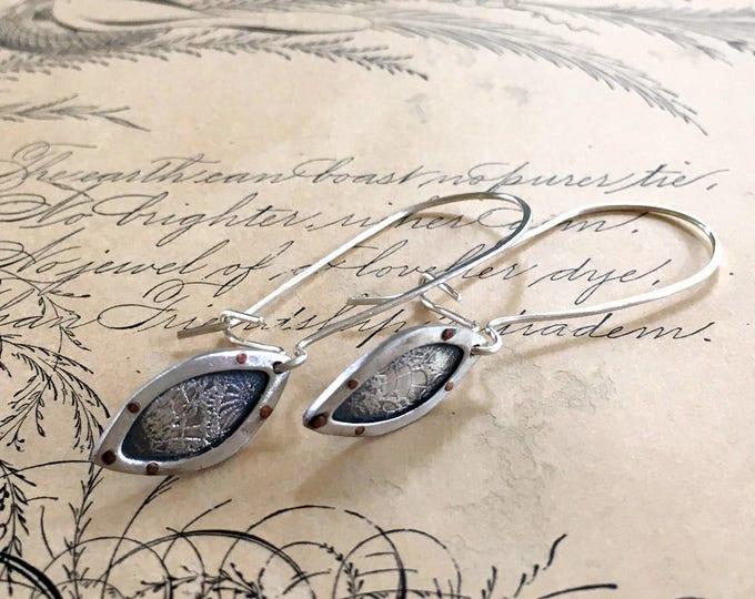 Long Dangle Earrings, Kidney Ear Wires, Petal Shape