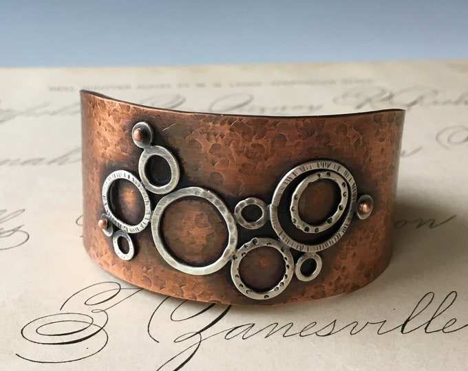 Wide Copper Cuff Bracelet, Hammered, Mixed Metals, Circle Design Jewelry