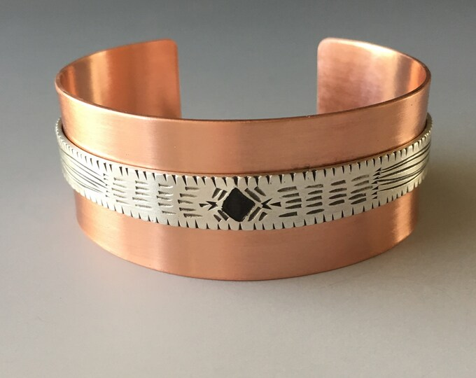 Cuff Bracelets for Women, Copper Cuff Bracelet, Copper and Silver, Mixed Metal Jewelry