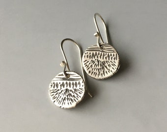 Small Silver Earrings, Circle Dangle, Tiny Jewelry