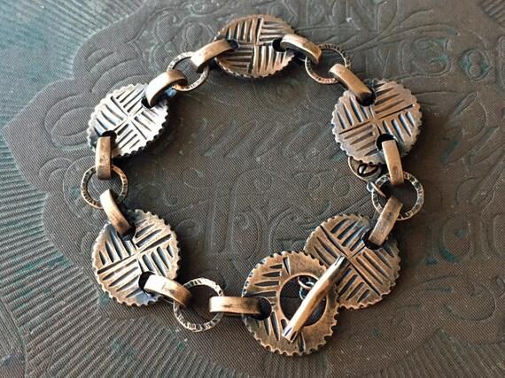 Copper Chain Bracelet, Reversible Bracelet, Carved Jewelry
