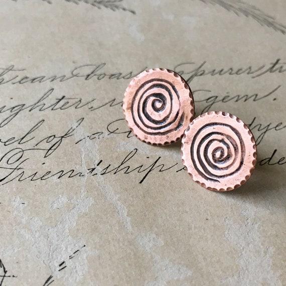 Spiral Copper Earrings, Carved Earrings, Wabi Sabi Jewelry, Small Studs