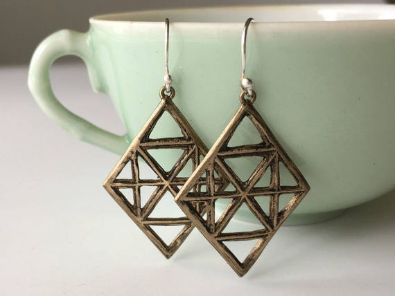 Diamond Shaped Earrings, Bronze Earrings, Geometric Jewelry, Rustic Jewelry