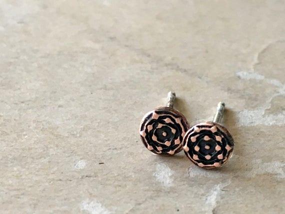 Copper Stud Earrings, Teeny Tiny Earrings, Unisex Gift Idea