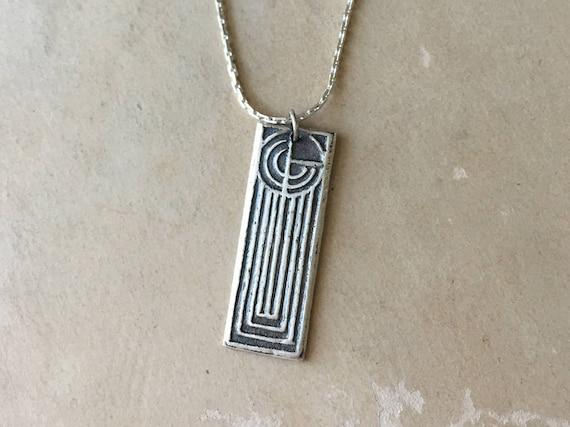Art Deco Pendant, Geometric Design, Simple Silver Necklace, Minimalist Jewelry