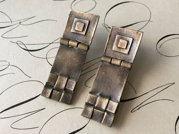 Bronze Earrings, Geometric Jewelry, Arts and Crafts Mission Style