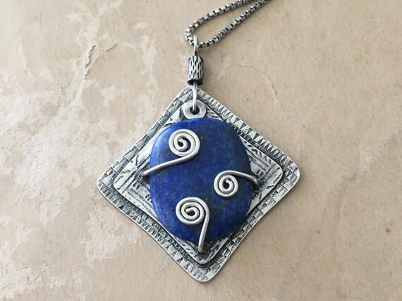 Lapis Lazuli Necklace, Blue Pendant, Spiral Jewelry, Lapis Pendant