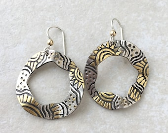 Gold vermeil hoop dangle earrings, sterling silver gold overlay