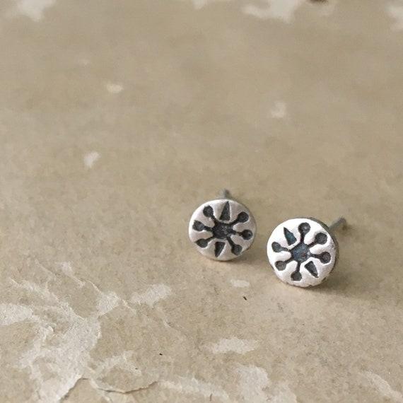 Little Earrings | Small Silver Studs | Retro Jewelry | Sterling Silver Earrings