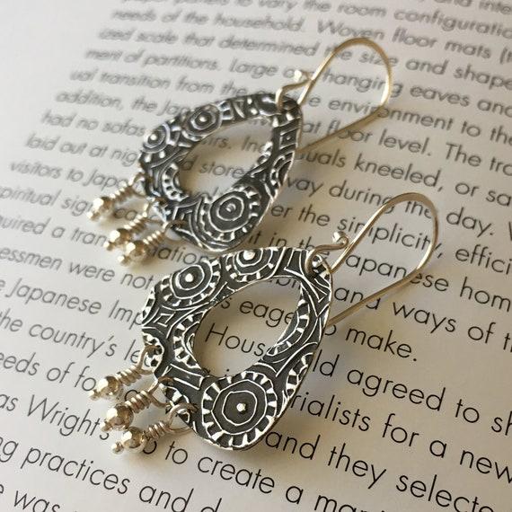 Triangle Earrings, Chandelier Earrings, Textured Silver, Oxidized Silver