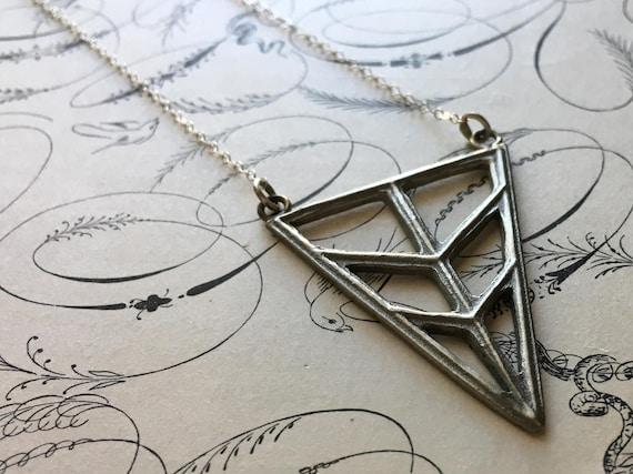 Triangle Necklace, Long Necklace, White Bronze Charm, Chevron Pendant