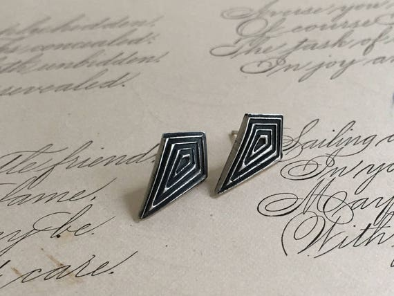 Silver Geometric Earrings, Kite Earrings, Diamond Shaped Earrings