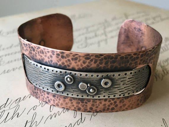 Copper Cuff Bracelet, Silver and Copper Cuff, Hammered Copper Jewelry, Wabi Sabi