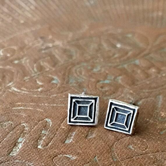 Square Earrings   Tiny Earrings   Stud Earrings