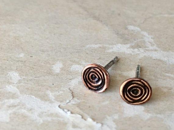 Tiny Stud Earrings | Copper Jewelry | Spiral Earrings