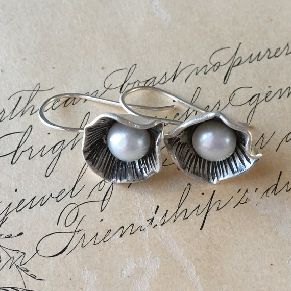 Silver and Pearl Drop Earrings, Organic Pearl, Petal Earrings, Carved Silver, Wabi Sabi Jewelry