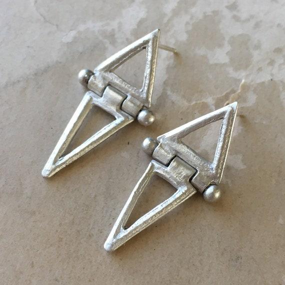 Triangle Earrings, Hinged Earrings, Art Deco Style Jewelry