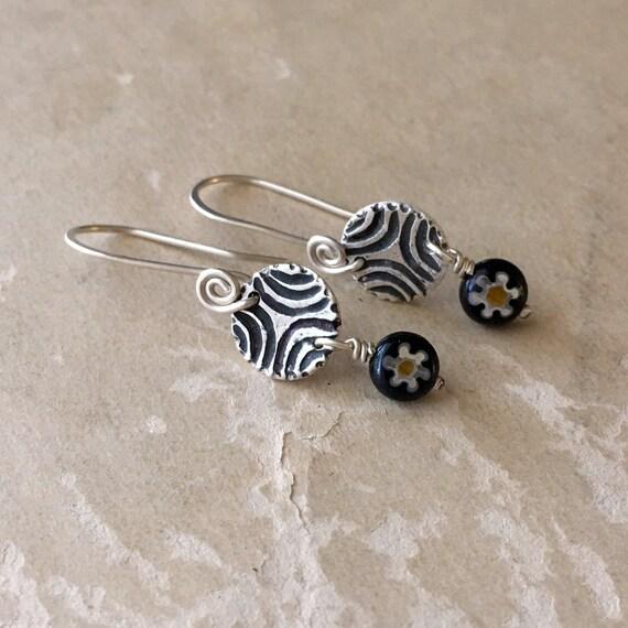 Tiny Silver Earrings, Millefiori Glass, Little Dangle Earrings